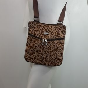 Baggallini cheetah print crossbody purse bag nylon